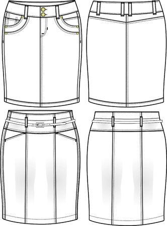 lady denim pencil skirts Vector
