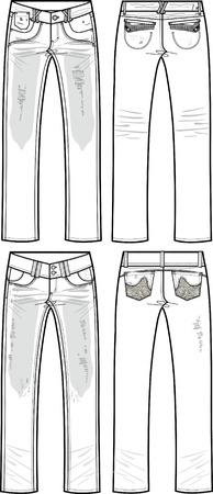 destroyed: Dame-Denim-Jeans mit rippt und zerst�rt Effekt  Illustration