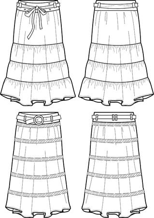 lady denim long skirts Vector