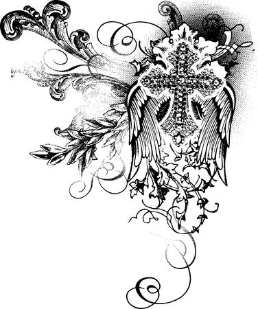 cruz religiosa: cruz de vuelo con la decoraci�n de desplazamiento