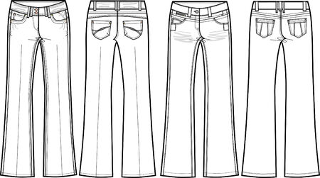 denim jeans skinny flare Stock Vector - 5584295