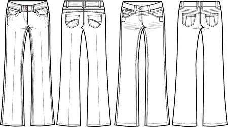 long pants: denim jeans skinny flare Illustration
