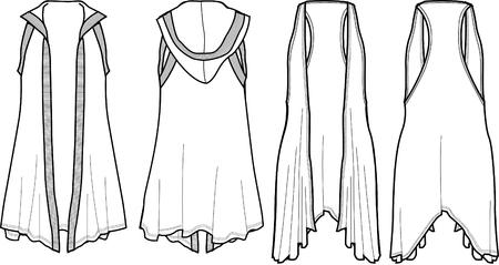 lady fashion wrap vest 矢量图像