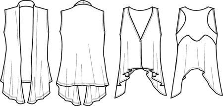 garments: lady fashion wrap vest Illustration