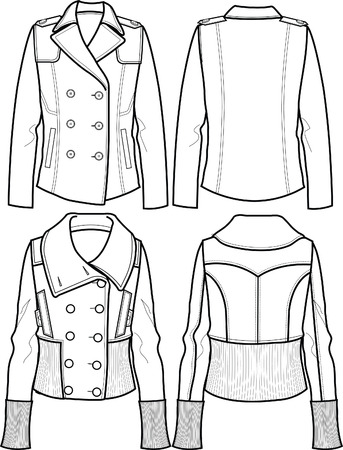 lady wool jacket Stock Vector - 5589629