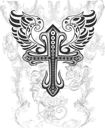 cross and wings: Cruz tribales con el ala ilustraci�n