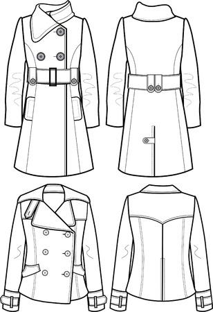 lady wool jacket Vector