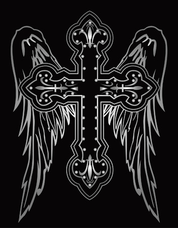 revolutionary: shiny religious cross with wing illustration