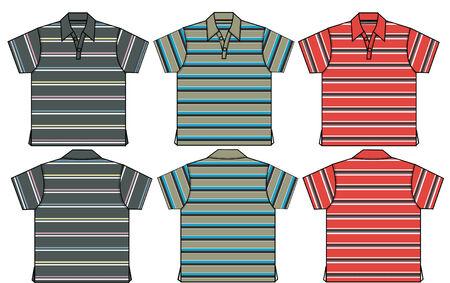 boy polo shirts in stripe pattern Vector
