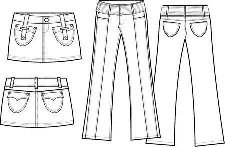 pant: lady corduroy skirt and pant