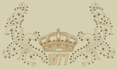 royal crown with scroll ornate emblem Stock Vector - 5616564