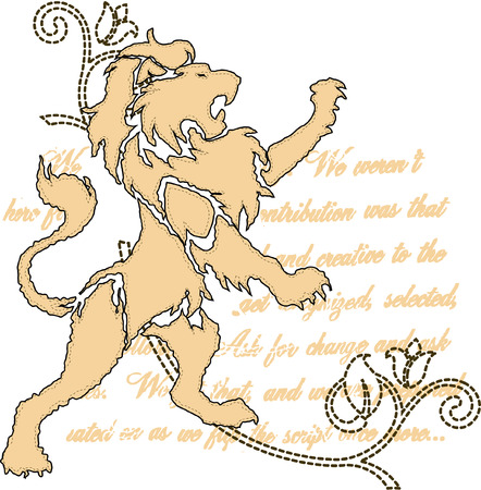 kingdom of heaven: royal lion with scroll ornate emblem Illustration