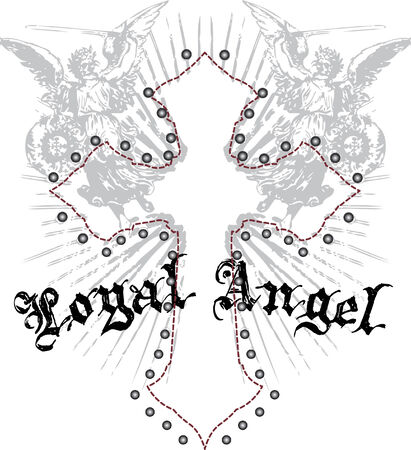 royal angel with cross emblem Vector