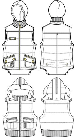 bomber: lady padded bomber vest jacket Illustration