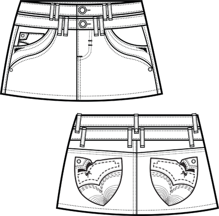 denim skirts with fancy back pockets Vector