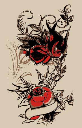 swallow: Tribal slikken en bloem design Stock Illustratie