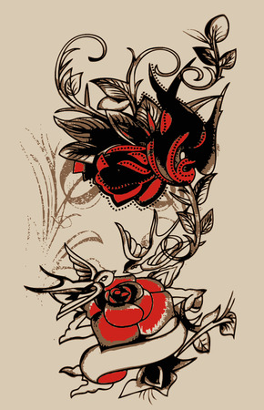 tribal swallow and flower design Illustration