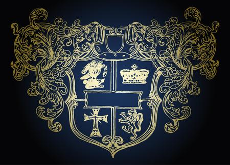 military shield emblem design Vector