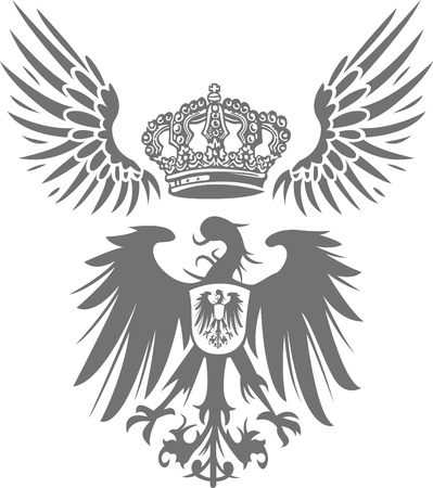 danger to life: eagle shield with wing and crown Illustration