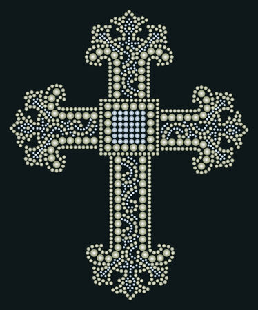 beaded: shiny cross stone beaded design  Illustration