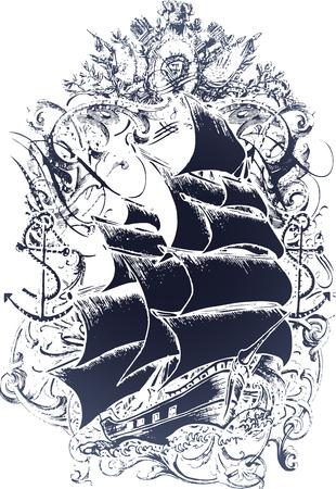 navire: Embl�me de vieux bateau Illustration