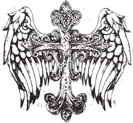 leven en dood: koninklijke kruis symbool met vleugel Stock Illustratie