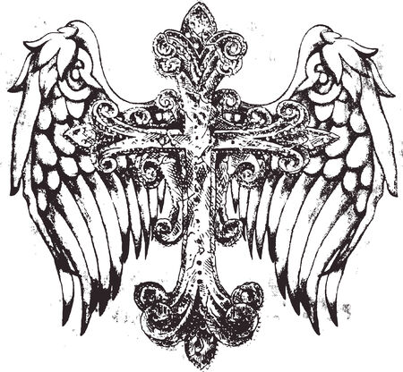 jesus cross: royal cross symbol with wing Illustration