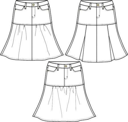 ふだん着: 3 つのスタイルでレディース デニム スカート  イラスト・ベクター素材