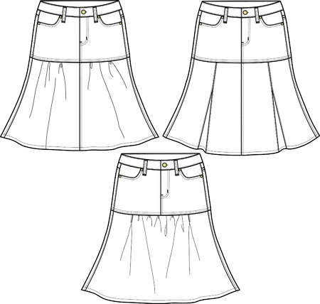 ladies denim skirts in three style Vector