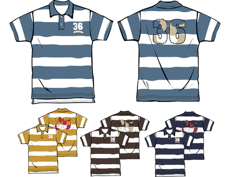 boy striped polo shirts Stock Vector - 5806191