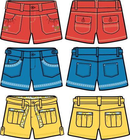 girls fancy hot shorts Stock Vector - 5894757