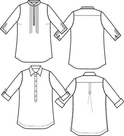 ふだん着: 女性ドレス シャツ  イラスト・ベクター素材