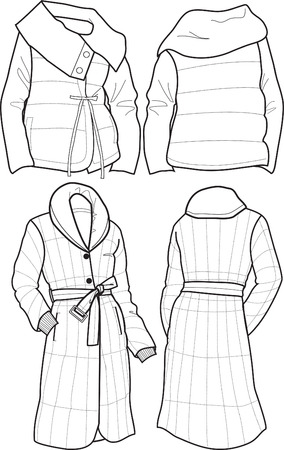 quilted fabric: lady quilted jacket Illustration