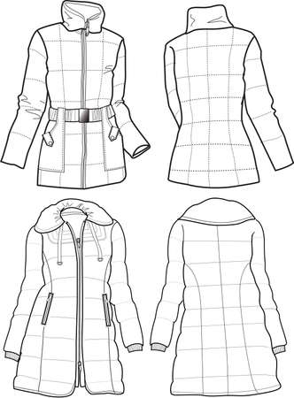 winter jacket: lady quilted jacket Illustration