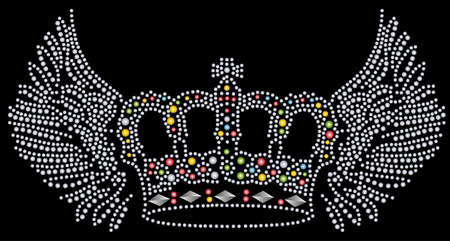 wing and crown beaded artwork Stock Vector - 6015542