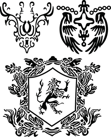 heraldic scroll and crest element Vector