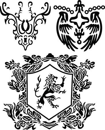 heraldic scroll and crest element