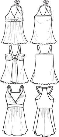 Dame fashion tops  Vector Illustratie