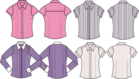 lady formal stripe shirts Vector