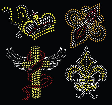 cross  and crown beaded collection Stock Vector - 6034822