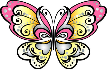 swallowtail: butterfly scroll symbol Illustration