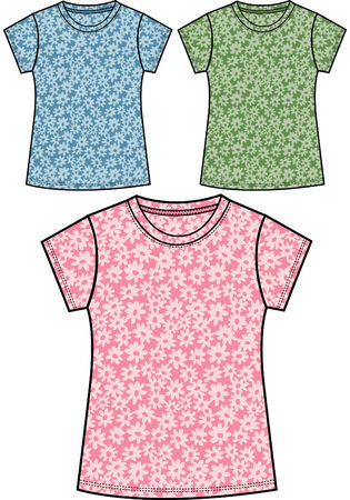girl floral t-shirts Vector