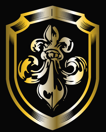 golden fleur de lis shield Vector