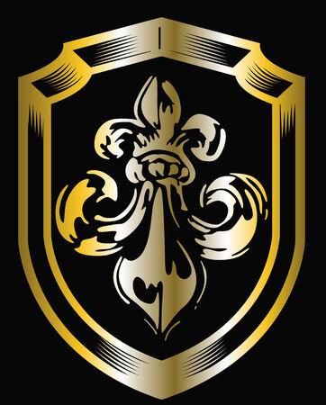 golden fleur de lis shield Vector