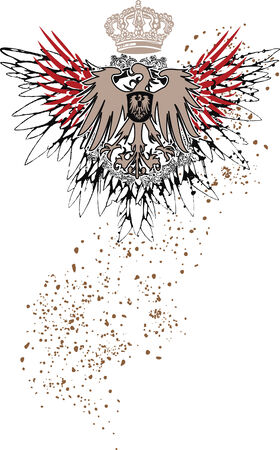 eagle shield and laurel wreath: heraldic eagle emblem with splatter details Illustration