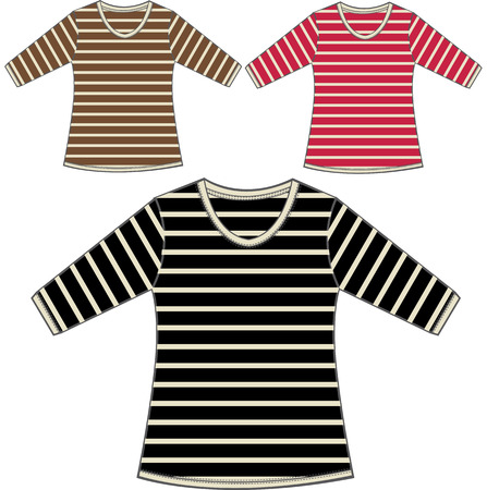 girls stripe tops Stock Vector - 6231703