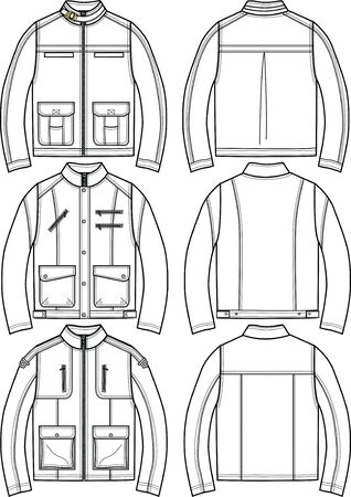 garments: mens leather jackets Illustration