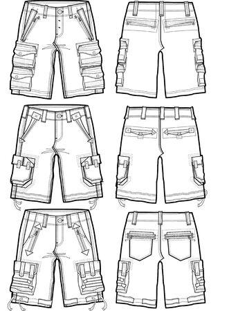men cargo shorts Vector