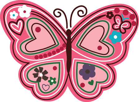 floral butterfly illustration Vector