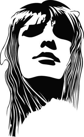 tattoo girl: cara de mujer  Vectores